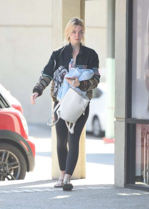 Elle Fanning Arrives at the gym in Los Angeles