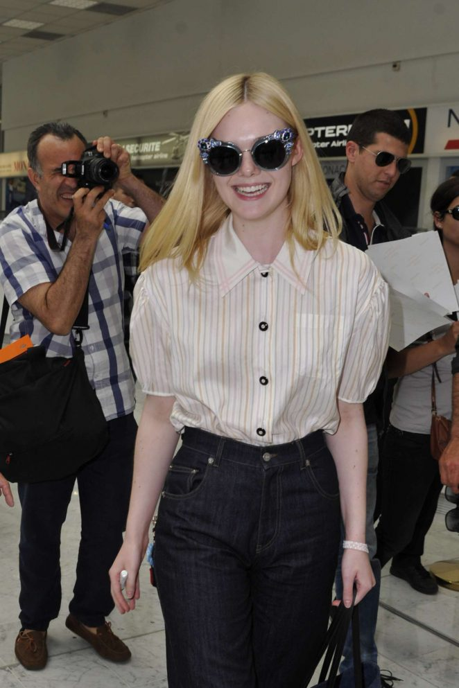 Elle Fanning Arriving at Airport in Nice