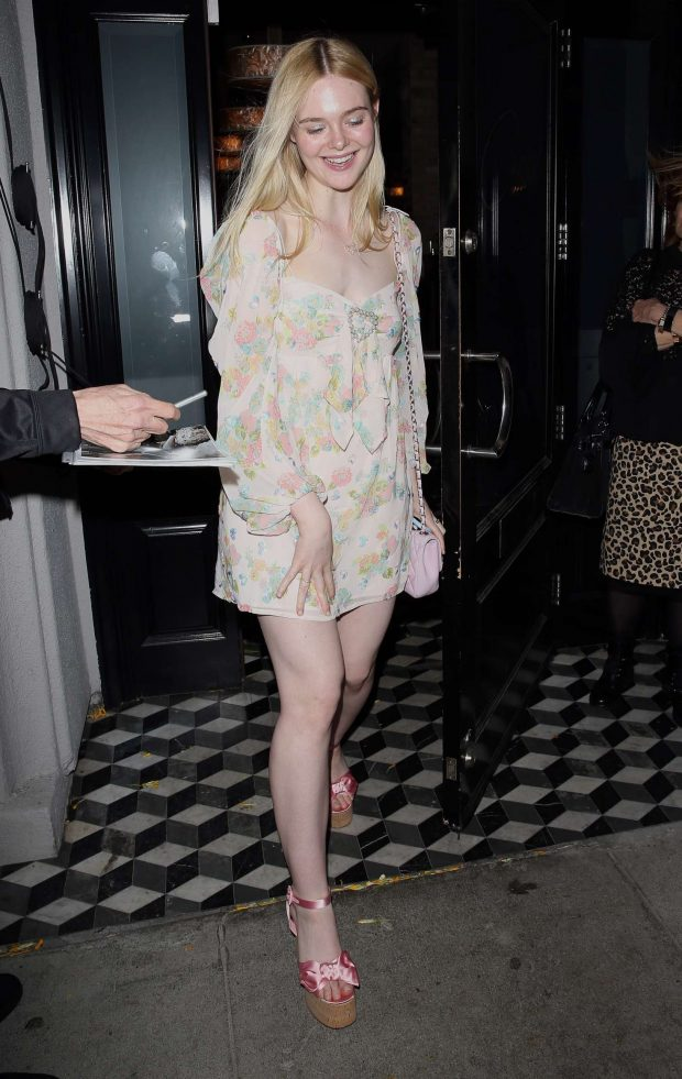 Elle Fanning at Craigs in West Hollywood -04