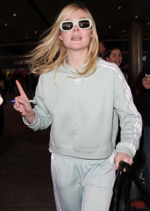Elle Fanning at LAX Airport in Los Angeles
