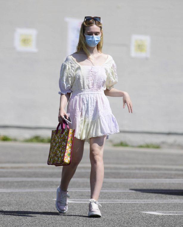 Elle Fanning - Cute in white summer dress in Los Angeles