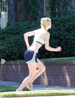Elle Fanning in Shorts and Sports Bra -20