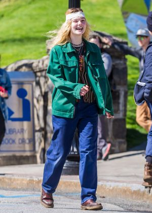 Elle Fanning - Filming 'I Think We're Alone Now' in NY