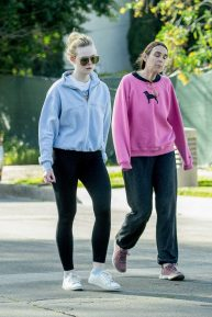 Elle Fanning - Goes for a long walk with her mother in Los Angeles