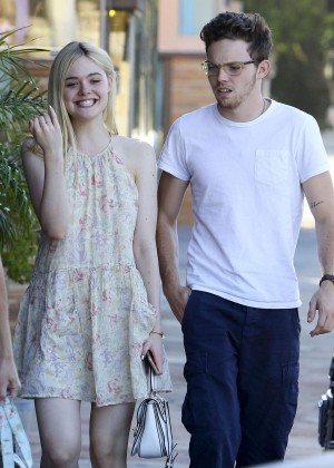 Elle Fanning in Mini Dress Headed for dinner in Studio City
