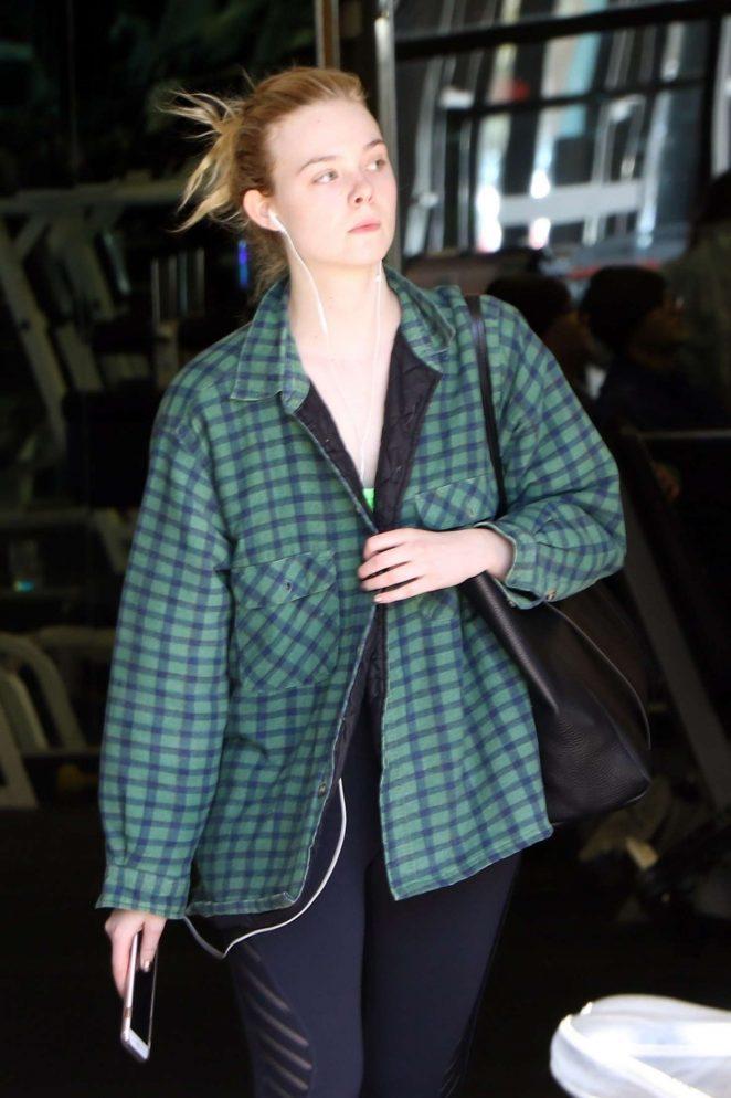 Elle Fanning - Hits the gym in LA