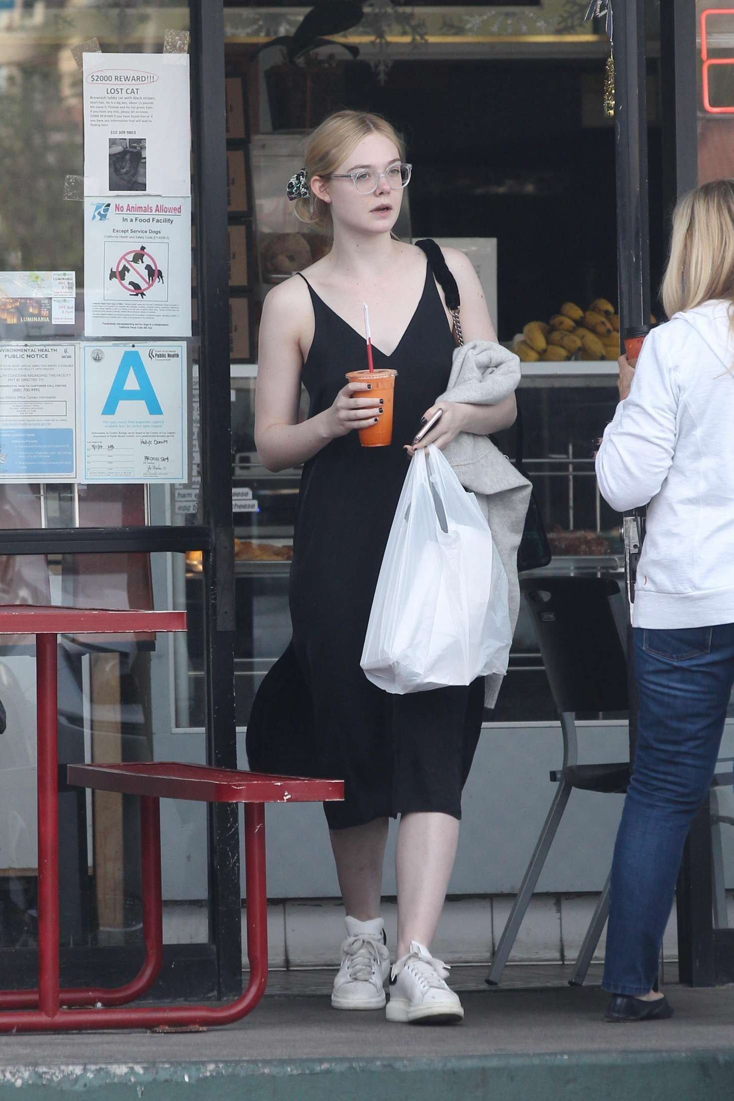 Elle Fanning In Black Dress Out In La