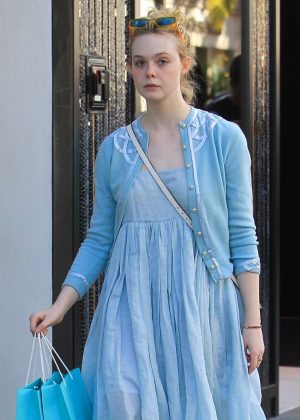 Elle Fanning in Blue Dress - Shopping on Rodeo Drive in Beverly Hills