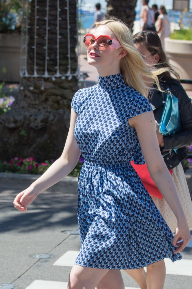 Elle Fanning in Blue Mini Dress at 70th Cannes Film Festival