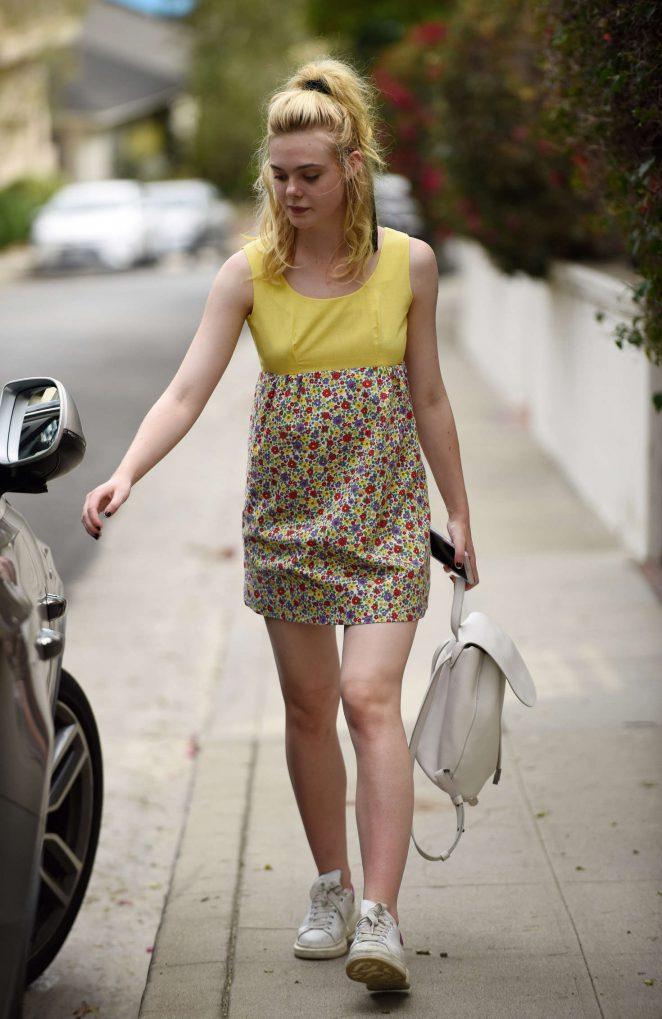 Elle Fanning in Floral Print Dress in Los Angeles