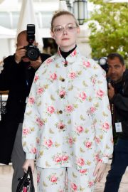 Elle Fanning in Floral Print Outfit in Cannes