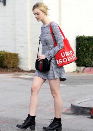 Elle Fanning in Grey Mini Dress -02