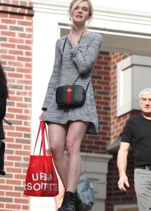 Elle Fanning in Grey Mini Dress -07