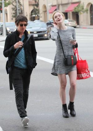 Elle Fanning in Grey Mini Dress -09