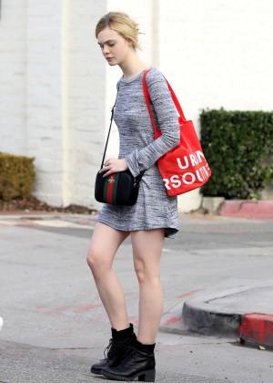 Elle Fanning in Grey Mini Dress -12
