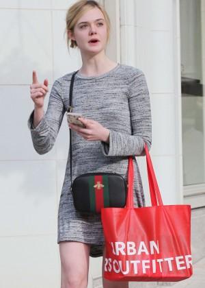Elle Fanning in Grey Mini Dress -16
