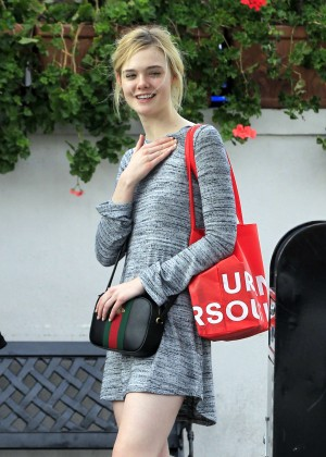 Elle Fanning in Grey Mini Dress out in Beverly Hills