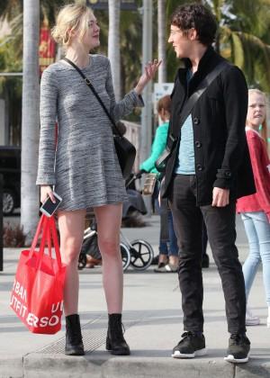Elle Fanning in Grey Mini Dress -18