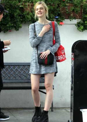Elle Fanning in Grey Mini Dress -19