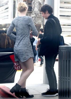 Elle Fanning in Grey Mini Dress -22