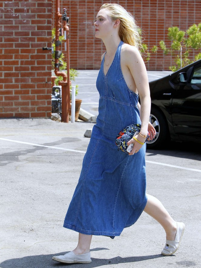 Elle Fanning in Jeans Dress Out in Beverly Hills