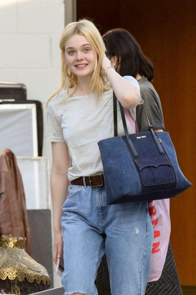 Elle Fanning in Jeans exits a studio in LA