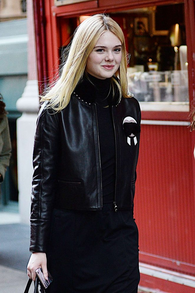 Elle Fanning in Leather Jacket Out in New York