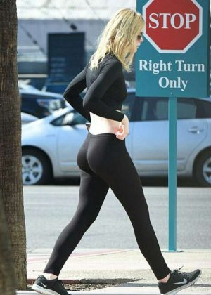 Elle Fanning in Leggins at the gym in Los Angeles