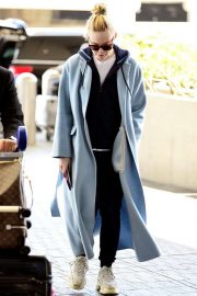 Elle Fanning in Long Coat - Arriving at LAX Airport in LA