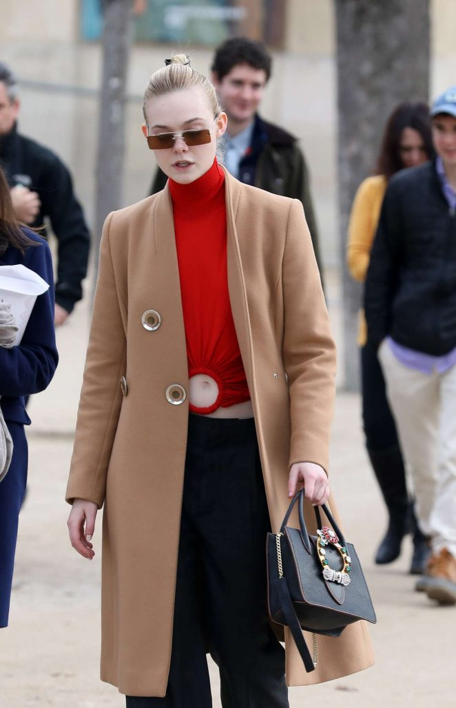 Elle Fanning in Long Coat – Out and about in Paris