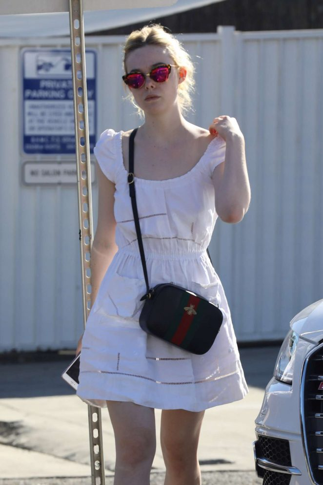 Elle Fanning in Mini Dress at Ramirez Tran Salon in Beverly Hills