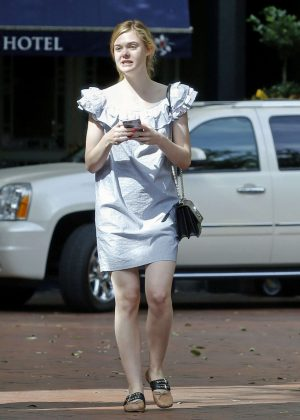 Elle Fanning in Mini Dress Out and about in New Orleans