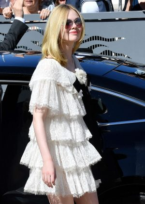 Elle Fanning in Mini Dress Out in Cannes