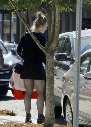 Elle Fanning in Mini Dress Shopping in New Orleans