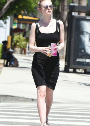 Elle Fanning in Mini Dress Shopping in Studio City