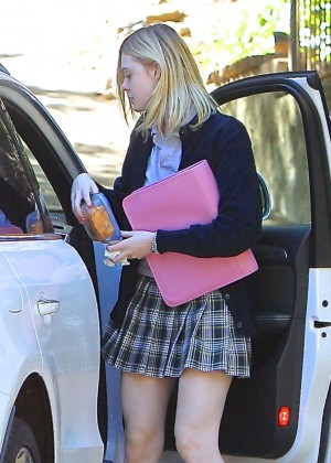 Elle Fanning in Mini Skirt Out in Los Angeles