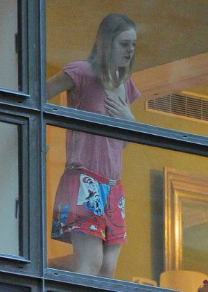 Elle Fanning in Pajama Bottoms in New York