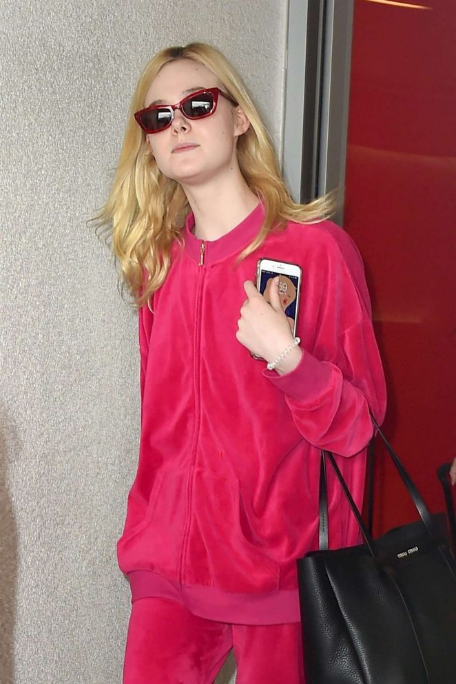 Elle Fanning in Pink at LAX Airport in Los Angeles