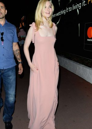 Elle Fanning in Pink Dress out in Cannes