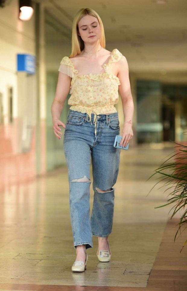 Elle Fanning in Ripped Jeans - Out in LA