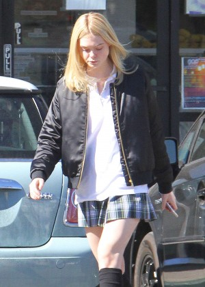 Elle Fanning in Short Skirt Out in Los Angeles