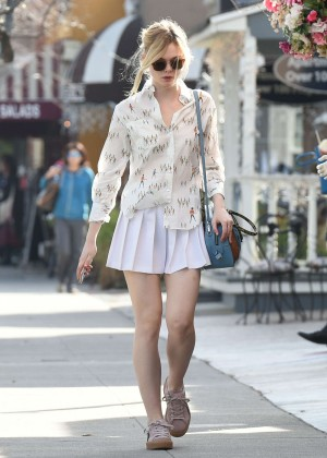 Elle Fanning in Short Skirt Shopping in Studio City