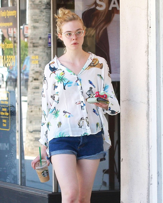 Elle Fanning in Jeans Shorts Out in Studio City