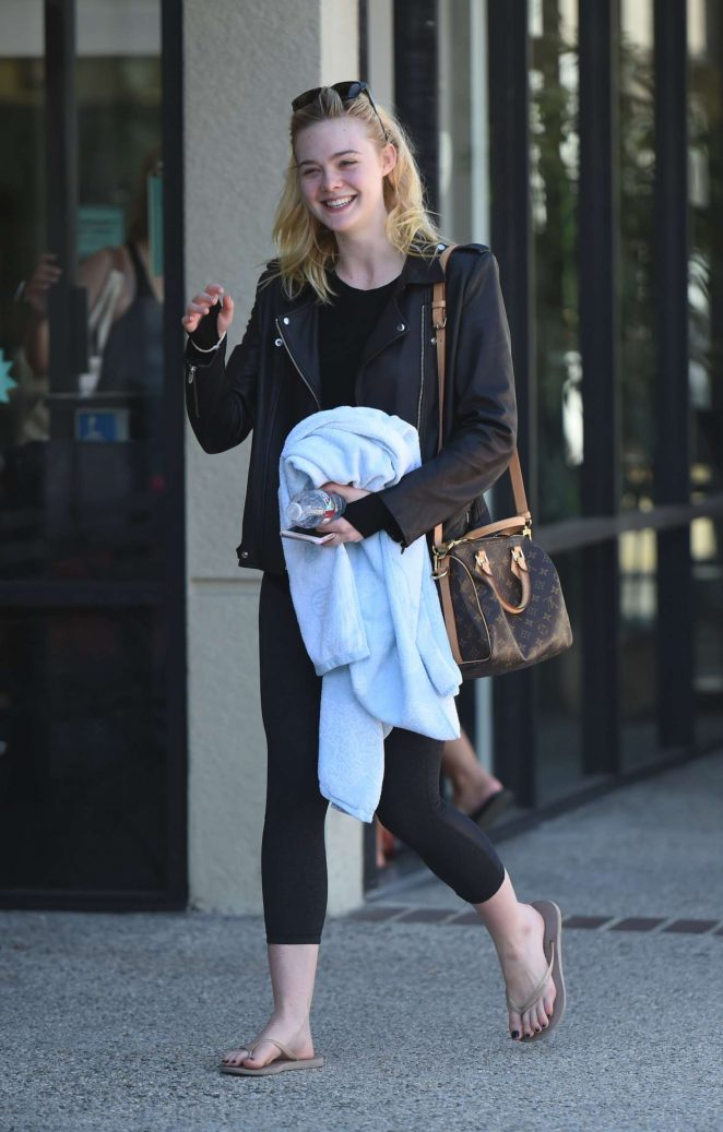 Elle Fanning in Spandex at the gym in LA