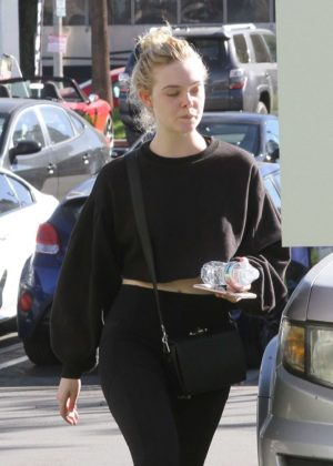 Elle Fanning in Spandex - Hits the gym in LA