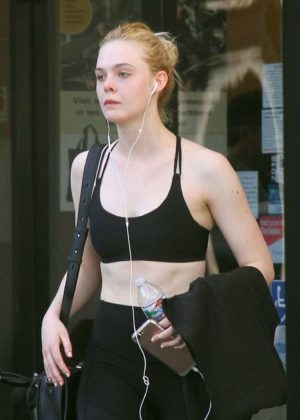 Elle Fanning in Sports Bra - Leaving the gym in LA