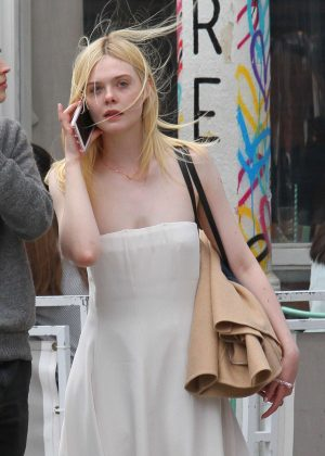 Elle Fanning in Summer Dress out in NYC