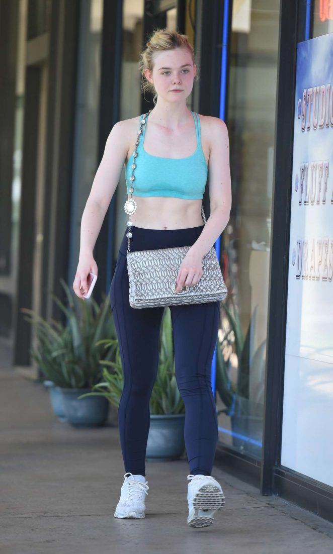 a800c299e94a0 Elle Fanning in Tank Top Leaving the gym in Studio City – GotCeleb