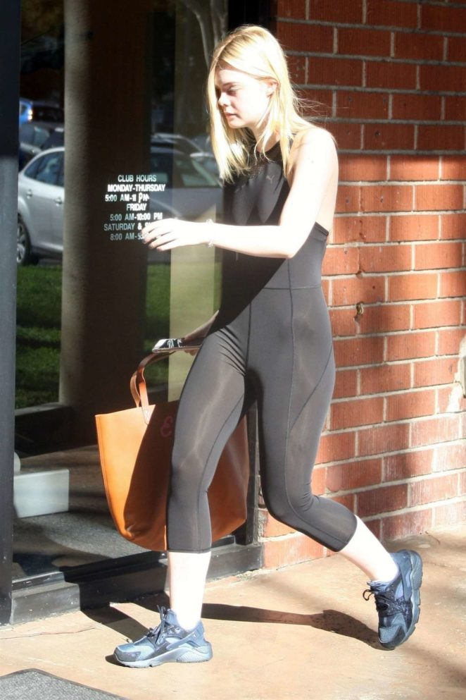 Elle Fanning In Tights At LA Fitness 16 GotCeleb