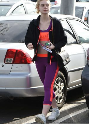 Elle Fanning in Tights heads to the gym in Los Angeles